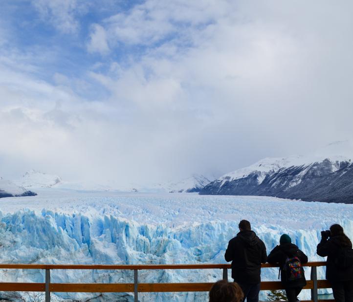 Students visit Argentina glacier.