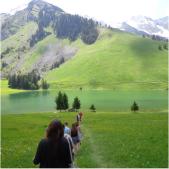 Group hikes across field toward mountains.