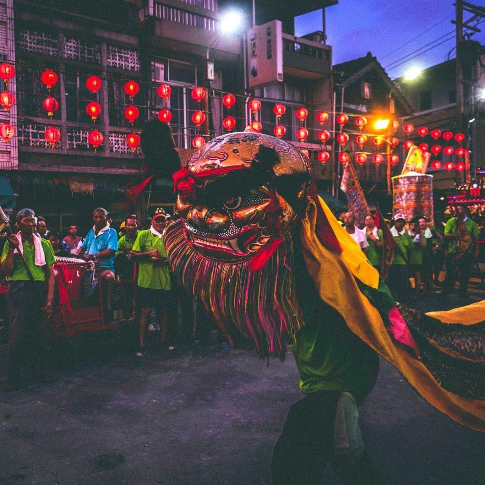 Lunar New Year festival dragon costume.