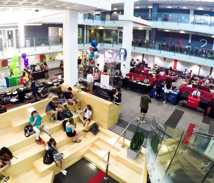 Northeastern campus library interior.
