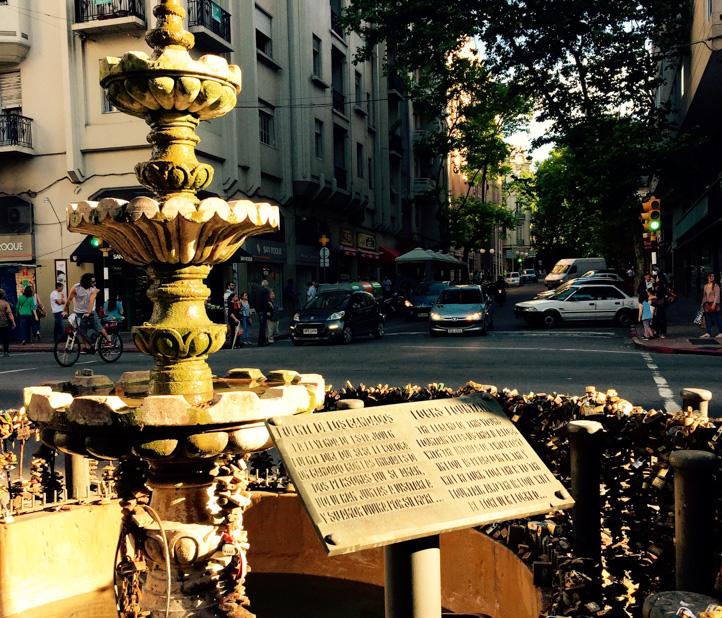 Antique fountain in plaza.